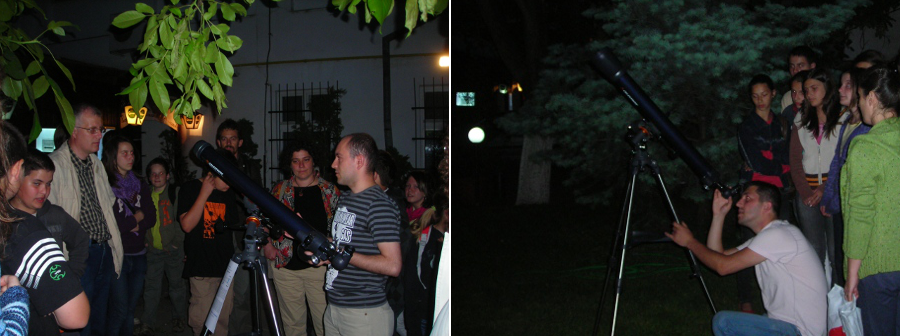Left: Marian Niculescu presents to the public the sky; Right: Cilian Andres, with his telescope; Closer to the Stars exhibition, Ethnographic Museum, Cluj-Napoca, 2009