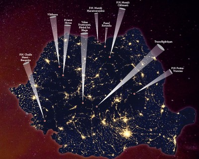 Harta locurilor cu cel mai întunecat cer din România | Surse: Astroclubul București, Astroclubul Borealis Cluj, Societatea Română de Meteori, International Dark Sky Association  | Notă: Harta nu este una exhaustivă